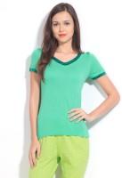 Enamor Solid Women's V-neck T-Shirt