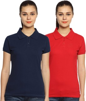 Go India Store Solid Women's Polo Neck Dark Blue, Red T-Shirt Pack Of 2