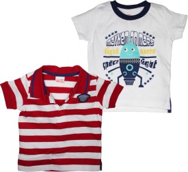 FS Mini Klub Striped, Printed Baby Boy's Round Neck, Polo Neck T-Shirt Pack Of 2