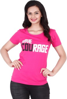 Change360° Have Courage Half Sleeves Printed Women's Round Neck T-Shirt