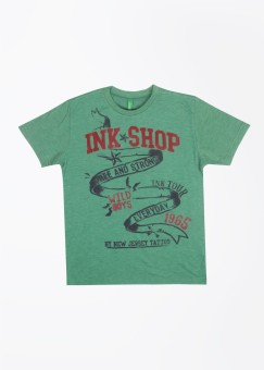 United Colors Of Benetton Printed Boy's Round Neck Green T-Shirt