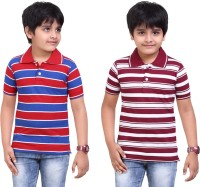 Dongli Striped Baby Boy's Polo Neck Red, Maroon T-Shirt (Pack Of 2)