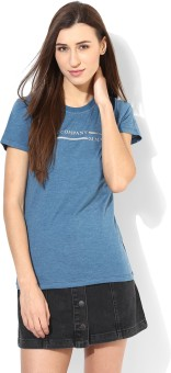 Tshirt Company Self Design Women's Round Neck Blue T-Shirt