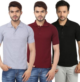 Weardo Solid Men's Polo Neck Black, Maroon, Grey T-Shirt Pack Of 3