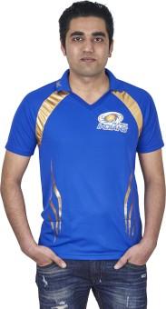 REL Mumbai Indian Printed Men's Flap Collar Neck T-Shirt