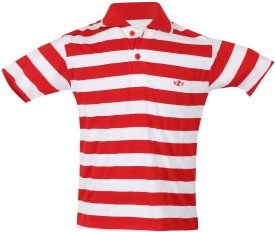 Awack Striped Baby Girl's Polo Neck Red T-Shirt