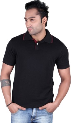 Kalt Kalt M010BK Solid Men's Polo Neck T-Shirt (Black)