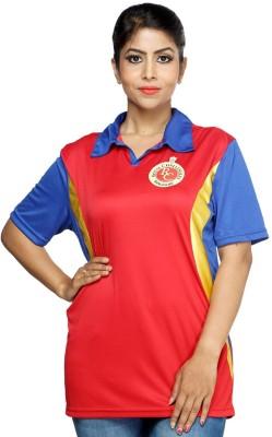 RCB Solid Women's Flap Collar Neck T-Shirt