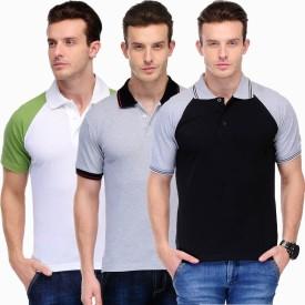 Scott International Solid Men's Polo White, Green, Black, Grey T-Shirt Pack Of 3