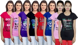 IndiStar Printed Women's Round Neck Pink, Pink, Purple, Black, Red, Blue, Black T-Shirt Pack Of 8