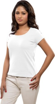Softwear Solid Women's Round Neck White T-Shirt