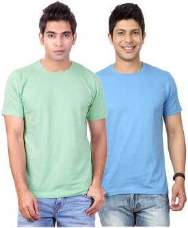 Top Notch Solid Men's Round Neck Light Green, Light Blue T-Shirt Pack Of 2