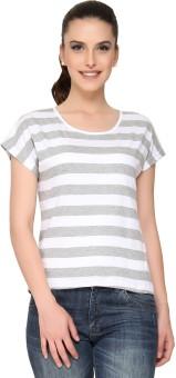 Alibi By INMARK Printed Women's Round Neck White, Grey T-Shirt
