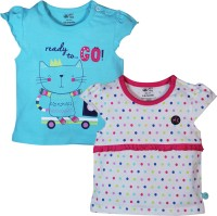 FS Mini Klub Printed Baby Girl's Round Neck Pink T-Shirt (Pack Of 2)