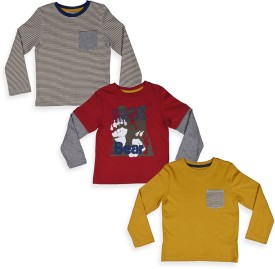 Mothercare Solid Boy's Round Neck T-Shirt Pack Of 3