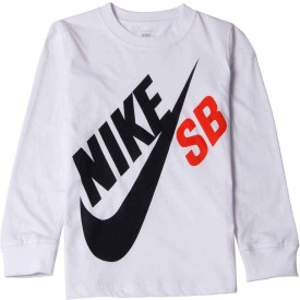 Nike Kids Graphic Print Boy's Round Neck White T-Shirt