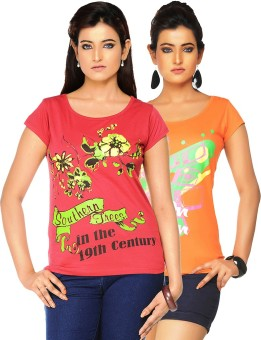 Jazzup Printed Women's Round Neck Orange, Red T-Shirt Pack Of 2