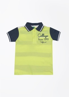 United Colors Of Benetton Striped Boy's Polo White, Blue, Yellow T-Shirt