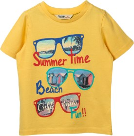 Beebay Graphic Print Boy's Round Neck Yellow T-Shirt