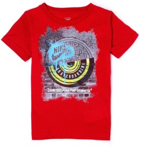 Nike Kids Graphic Print Boy's Round Neck Red T-Shirt