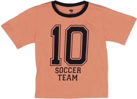 612 League Printed Boy's Round Neck Orange T-Shirt
