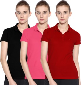Polo Nation Solid Women's Polo Neck Red, Pink, Black T-Shirt Pack Of 3