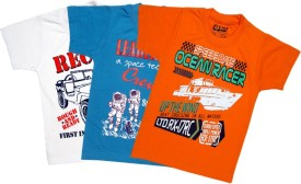 AJ Dezines Graphic Print Boy's Round Neck Orange, White, Blue T-Shirt Pack Of 3