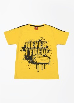 CHERISH Printed Boy's Round Neck Yellow T-Shirt