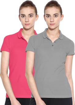 Polo Nation Solid Women's Polo Neck Grey, Pink T-Shirt Pack Of 2
