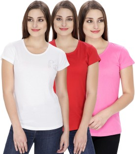 NGT Solid Women's Round Neck White, Pink, Red T-Shirt Pack Of 3