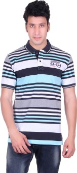 PICKLE Solid, Striped Men's Polo Neck Blue T-Shirt