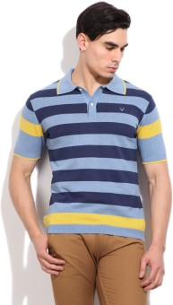 Allen Solly Striped Men's Polo Light Blue, Dark Blue, Yellow T-Shirt