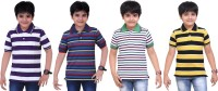 Dongli Striped Baby Boy's Polo Neck Purple, Blue, White, Yellow T-Shirt (Pack Of 4)