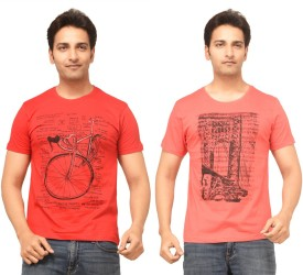 TSG Escape Printed Men's Round Neck Red T-Shirt Pack Of 2