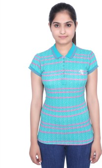 Duke Stardust Striped Women's Polo Neck Light Blue T-Shirt