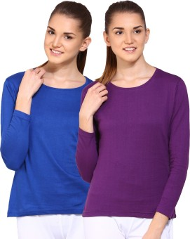 Ap'pulse Solid Women's Round Neck Blue, Purple T-Shirt Pack Of 2