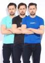 Status Quo Solid Men's Round Neck T-Shirt - Pack Of 3