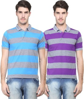 Vimal Striped Men's Polo Neck Blue, Purple T-Shirt Pack Of 2