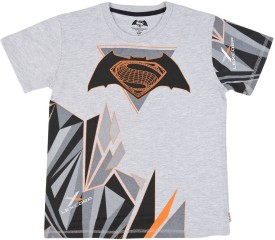 DAWN OF JUSTICE Printed Boy's Round Neck Grey T-Shirt