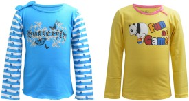 Blueriver Graphic Print Girl's Round Neck Light Blue, Yellow T-Shirt Pack Of 2