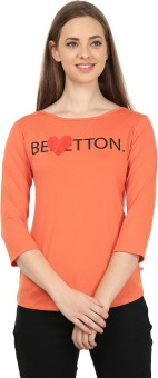 United Colors Of Benetton Printed Women's Boat Neck T-Shirt