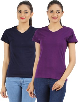 Ap'pulse Solid Women's V-neck Dark Blue, Purple T-Shirt Pack Of 2