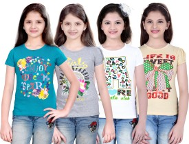 Sinimini Printed Girl's Round Neck Blue, Silver, White, Beige T-Shirt Pack Of 4