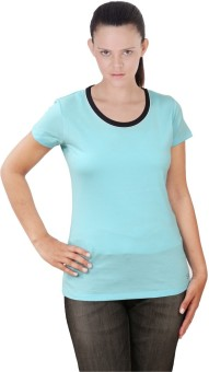 Sportking Blue Solid Women's Round Neck T-Shirt