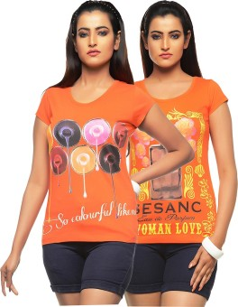 Jazzup Printed Women's Round Neck Orange, Orange T-Shirt Pack Of 2