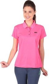 Vector X Solid Women's Polo Neck Pink T-Shirt