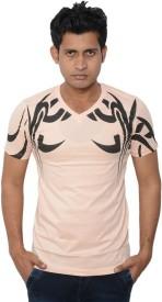 Lampara Printed Men's V-neck Pink T-Shirt