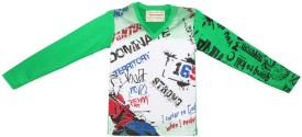 Tonyboy Printed Boy's V-neck Green T-Shirt