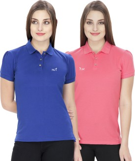 NGT Solid Women's Polo Neck Blue, Pink T-Shirt Pack Of 2 - TSHEJ3ZKFK8GHZSF