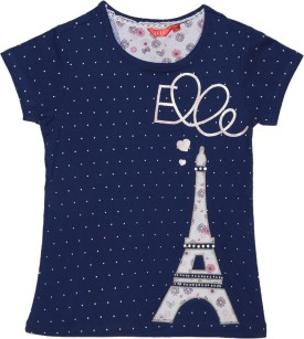 Elle Polka Print Girl's Round Neck Blue, White T-Shirt